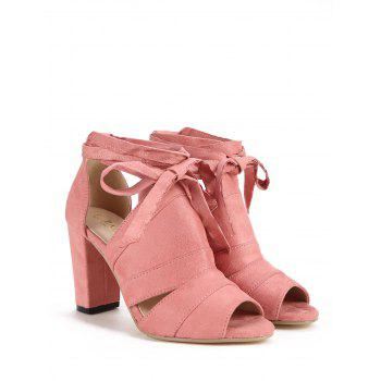 Peep Toe Lace Up Chic High Heel Sandals - LIGHT PINK 37