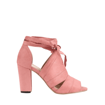 Peep Toe Lace Up Chic High Heel Sandals - LIGHT PINK 38