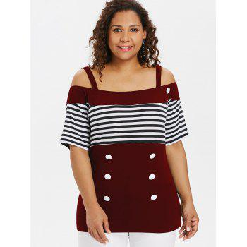 Plus Size Button Open Shoulder Tee - RED WINE 1X