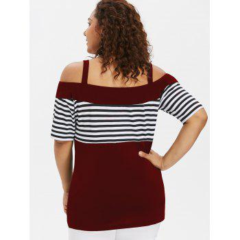 Plus Size Button Open Shoulder Tee - RED WINE L