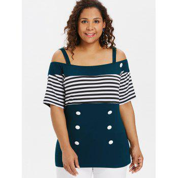 Plus Size Button Open Shoulder Tee - DEEP GREEN 2X