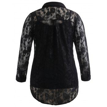 Plus Size Sheer Lace Blouse and Camisole - BLACK L