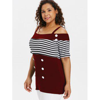 Plus Size Button Open Shoulder Tee - RED WINE 2X