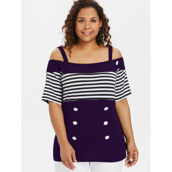 Plus Size Button Open Shoulder Tee - PURPLE IRIS 4X