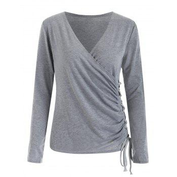 Grommet Lace Up Long Sleeve Top - GRAY M