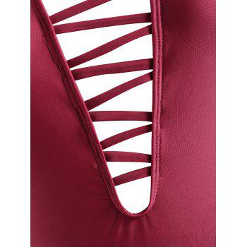 Strappy Cut Out One Piece Swimwear - CHERRY RED XL