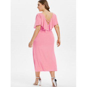 Plus Size Criss Cross Button Dress - LIGHT PINK 1X