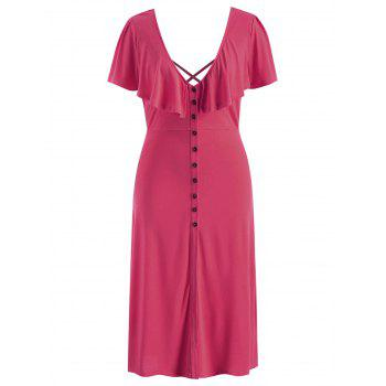 Plus Size Criss Cross Button Dress - ROSE RED 2X