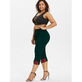 Plus Size High Waisted Applique Leggings - MEDIUM SEA GREEN 1X