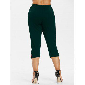 Plus Size High Waisted Applique Leggings - MEDIUM SEA GREEN 2X