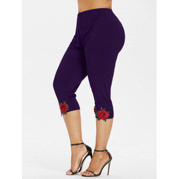 Plus Size High Waisted Applique Leggings - PURPLE MONSTER L