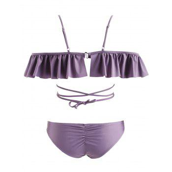Lace Up Flouncing Scrunch Bikini - VIOLA PURPLE XL