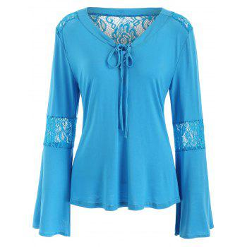 Lace Panel Flare Sleeve Tee - GLACIAL BLUE ICE S
