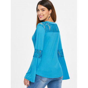 Lace Panel Flare Sleeve Tee - GLACIAL BLUE ICE L