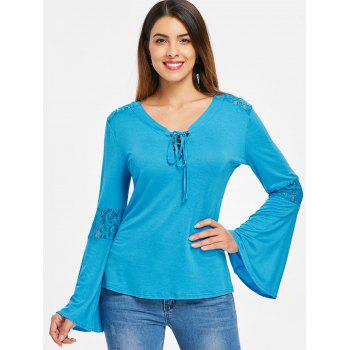 Lace Panel Flare Sleeve Tee - GLACIAL BLUE ICE 2XL