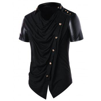Accordion Pleat Button Embellished T-shirt