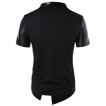 Accordion Pleat Button Embellished T-shirt - BLACK 2XL