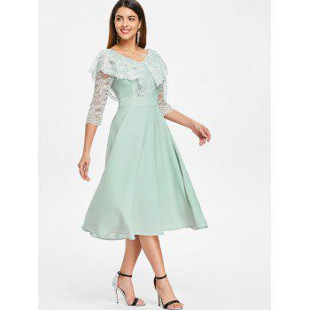 Double V Neck Lace Insert Flare Dress - LIGHT CYAN XL