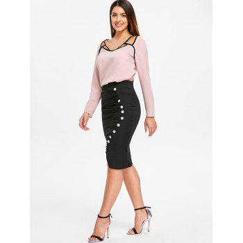 Long Sleeve Contrast Cut Out Top - LIGHT PINK L
