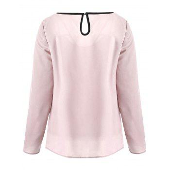 Long Sleeve Contrast Cut Out Top - LIGHT PINK S