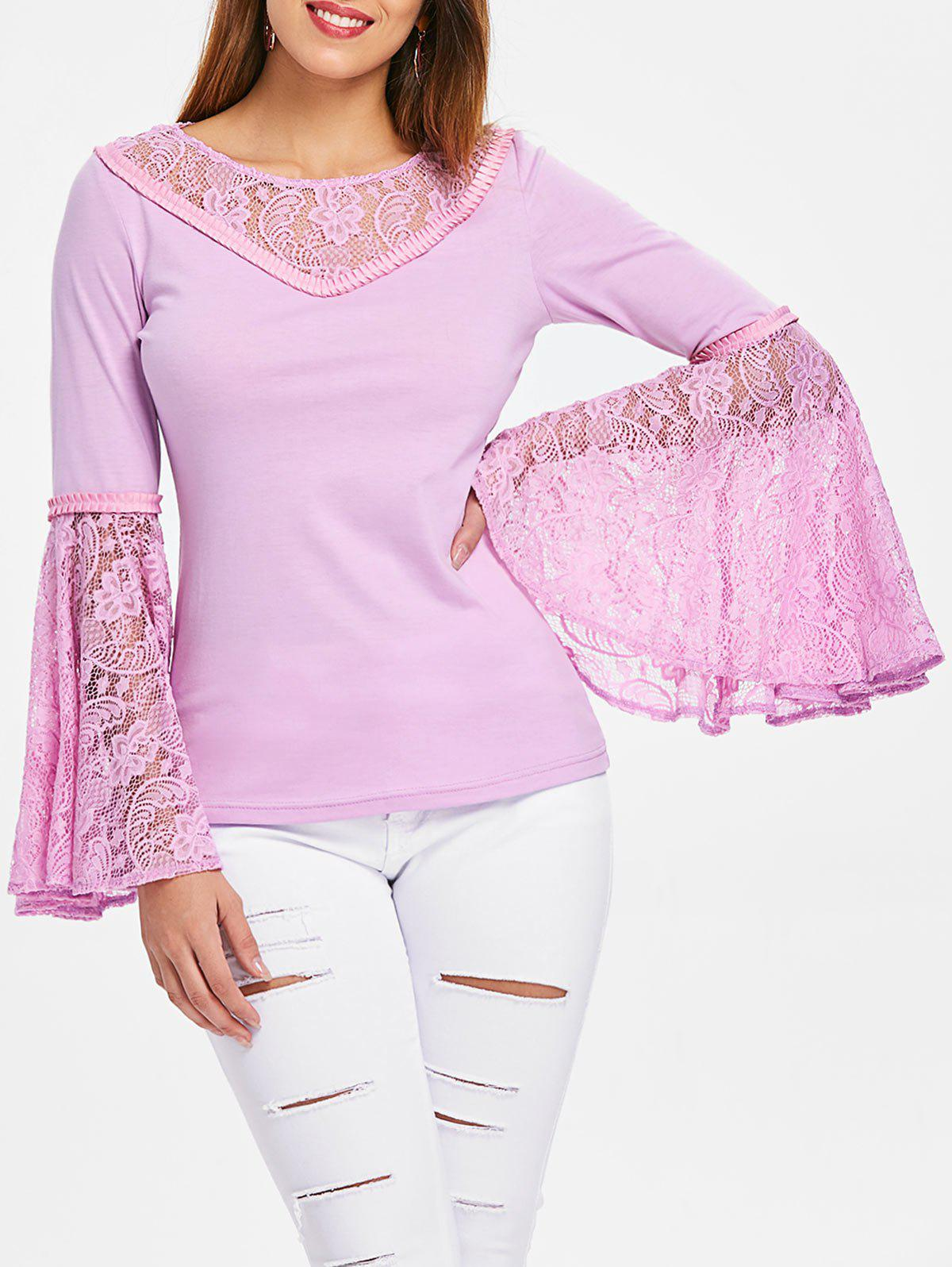 Flare Sleeve Lace Panel Tee