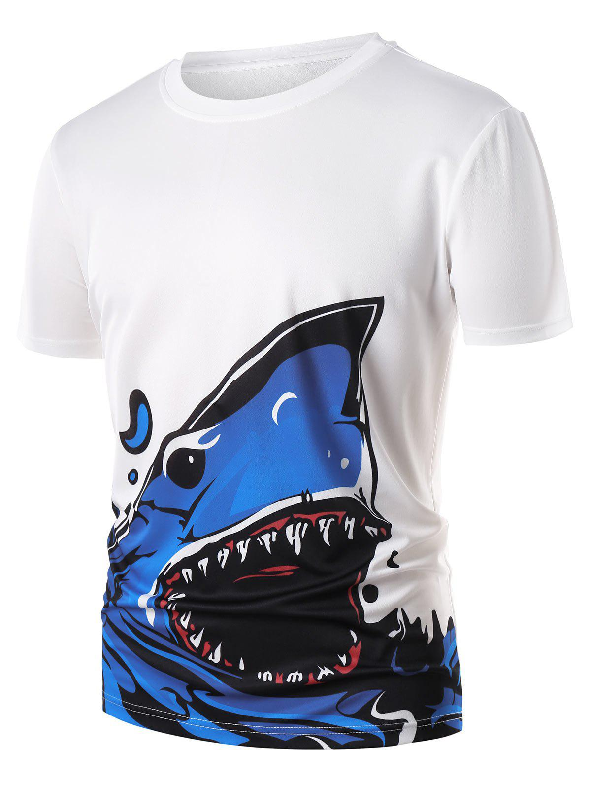 Casual Cartoon Shark Print T-shirt - WHITE M
