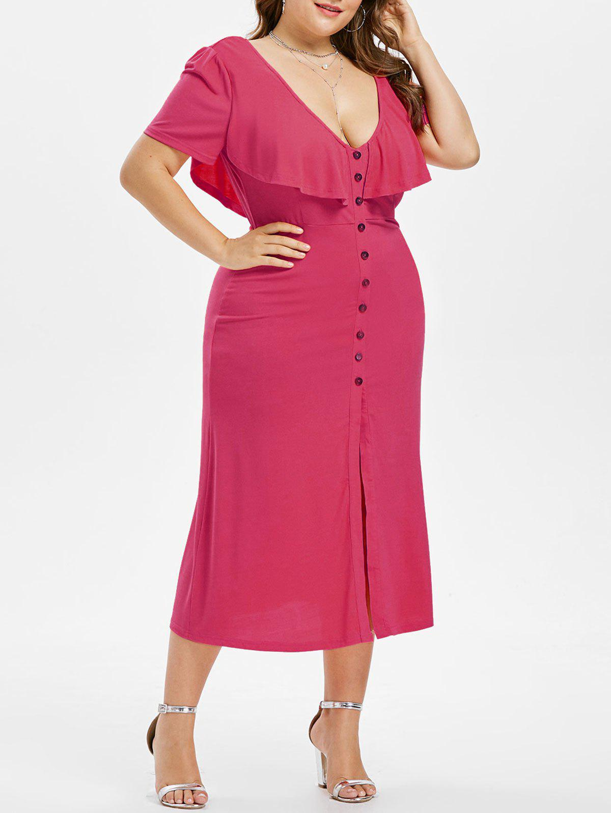 Plus Size Criss Cross Button Dress - ROSE RED 4X