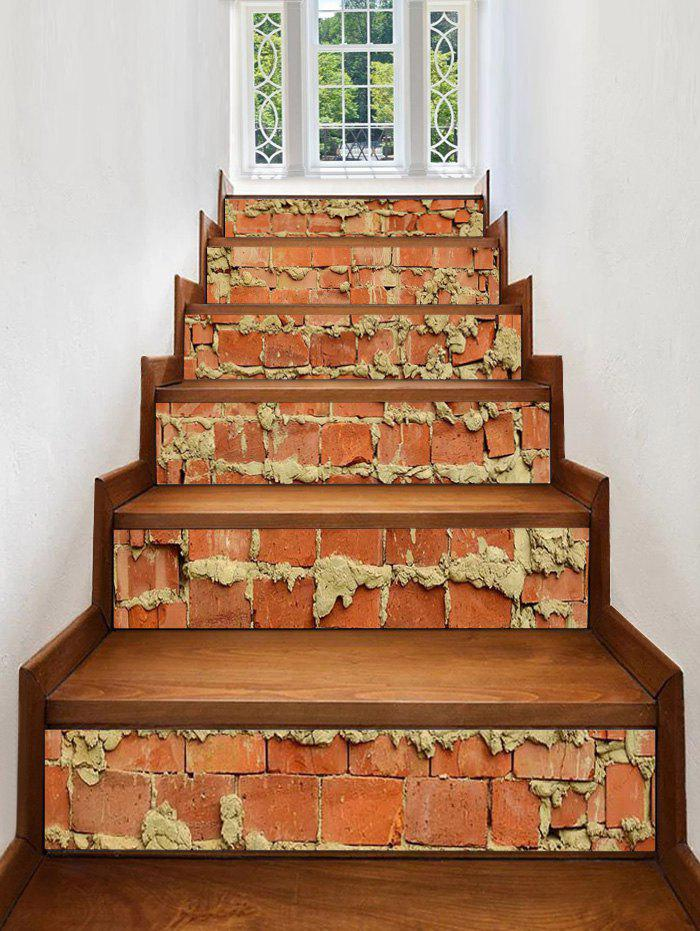 Removable Brick Wall Print Stair Stickers - multicolor 6PCS:39*7 INCH( NO FRAME )