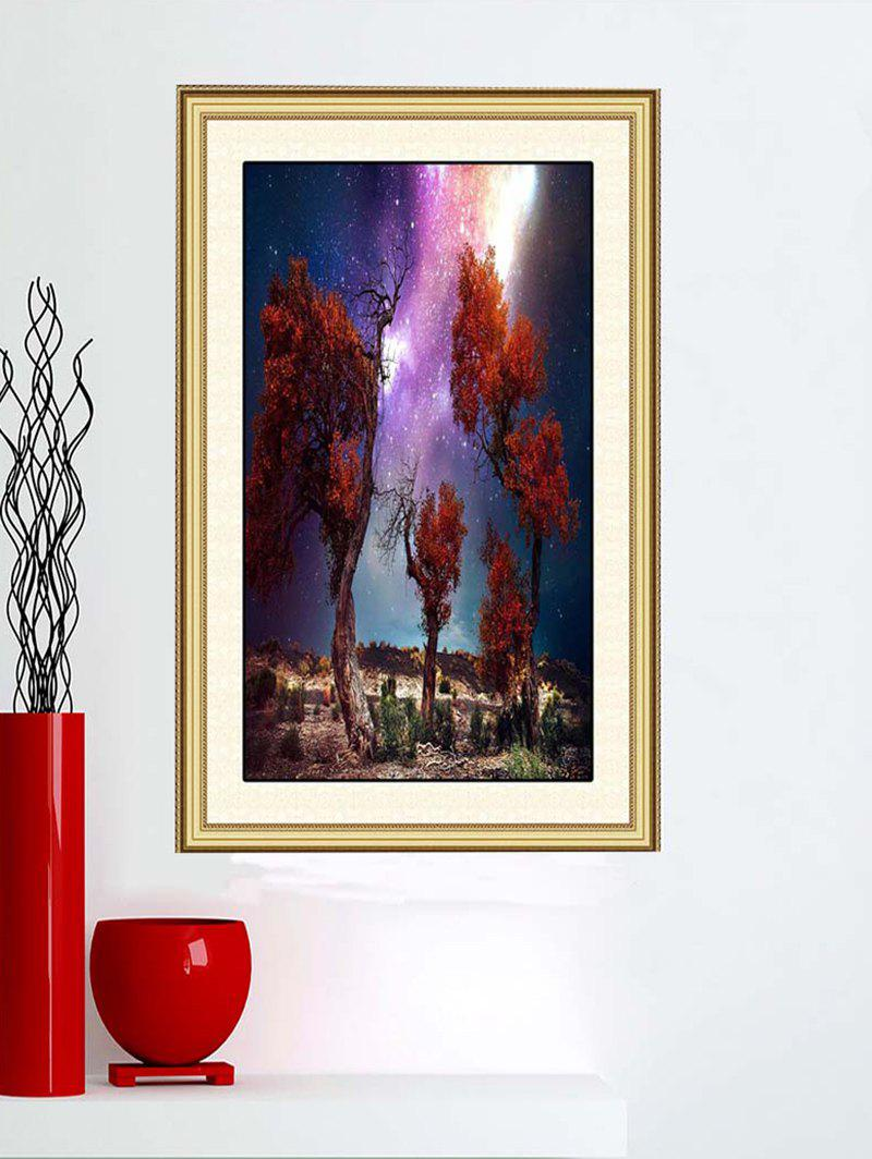 Star Sky Trees Wilderness Print Wall Sticker - multicolor W42CM*L58CM
