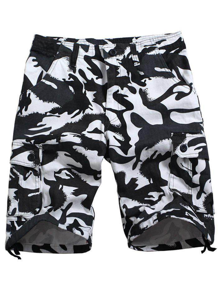 Zip Fly Camo Printed Six-pocket Cargo Shorts - SNOW CAMOUFLAGE 40