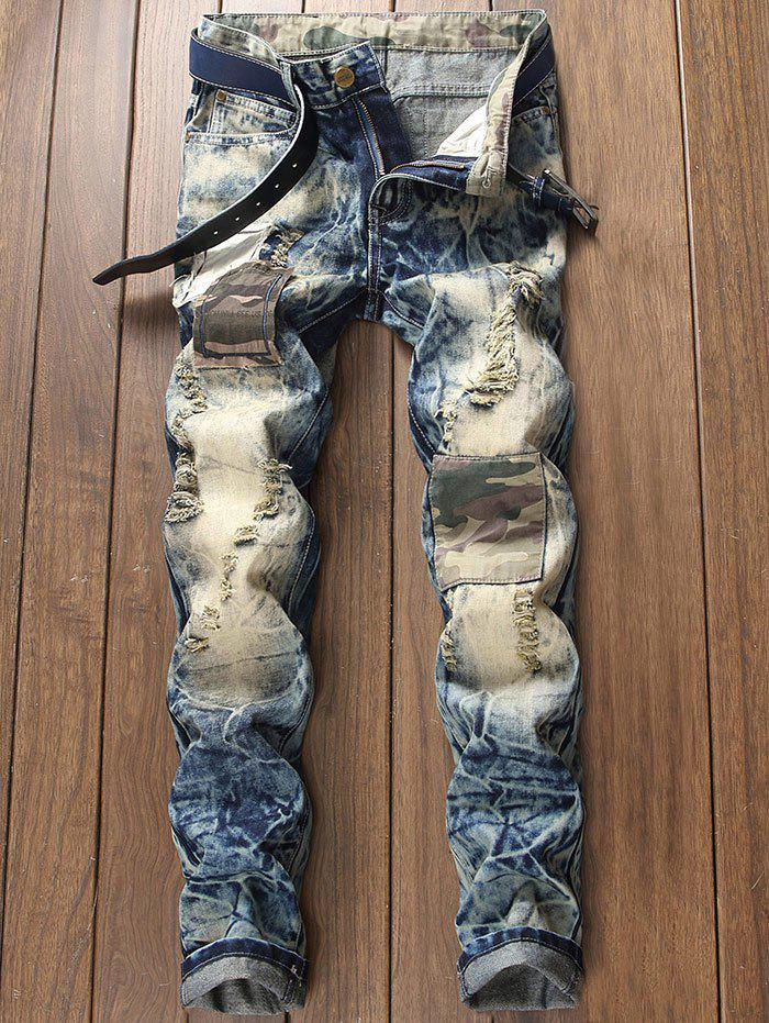 Faded Distressed Camouflage Patch Design Jeans 274958305