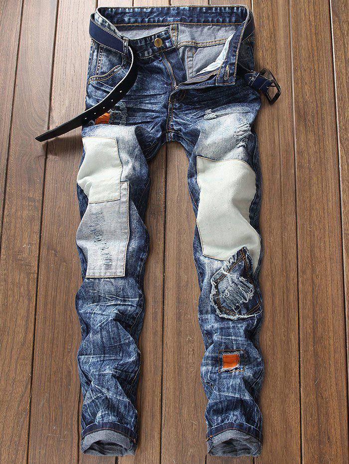 Zip Fly Panel Design Ripped Jeans 274959403