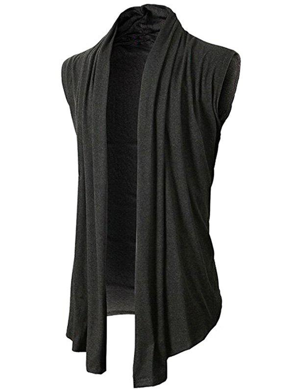 Simple Leisure Style Slim Fit Cardigan - DARK GRAY XL