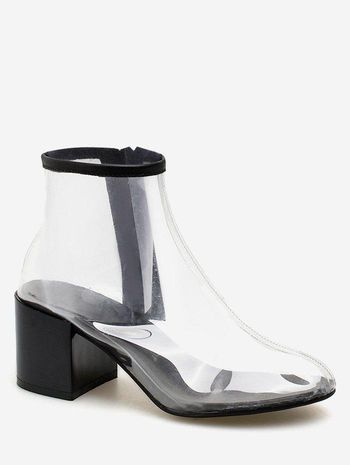 Chunky Heel PVC Transparent Chic Ankle Boots - BLACK 36