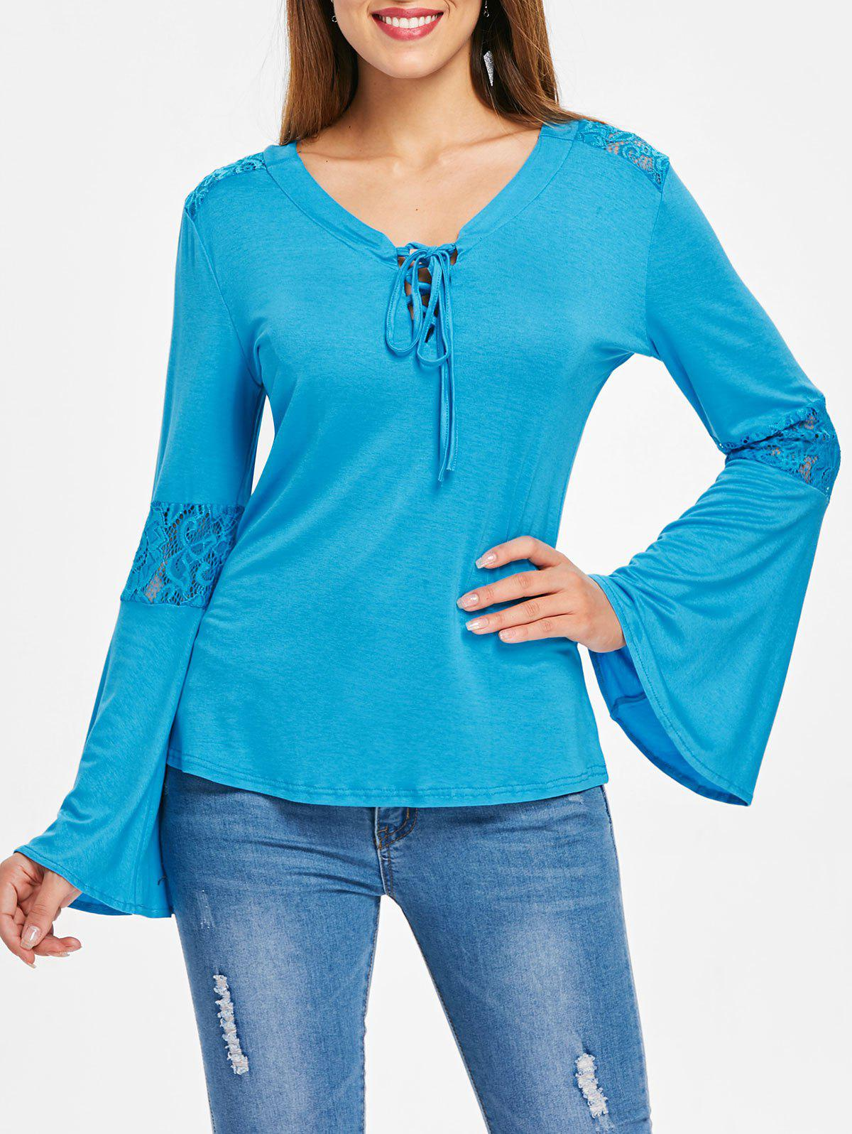 Lace Panel Flare Sleeve Tee - GLACIAL BLUE ICE XL