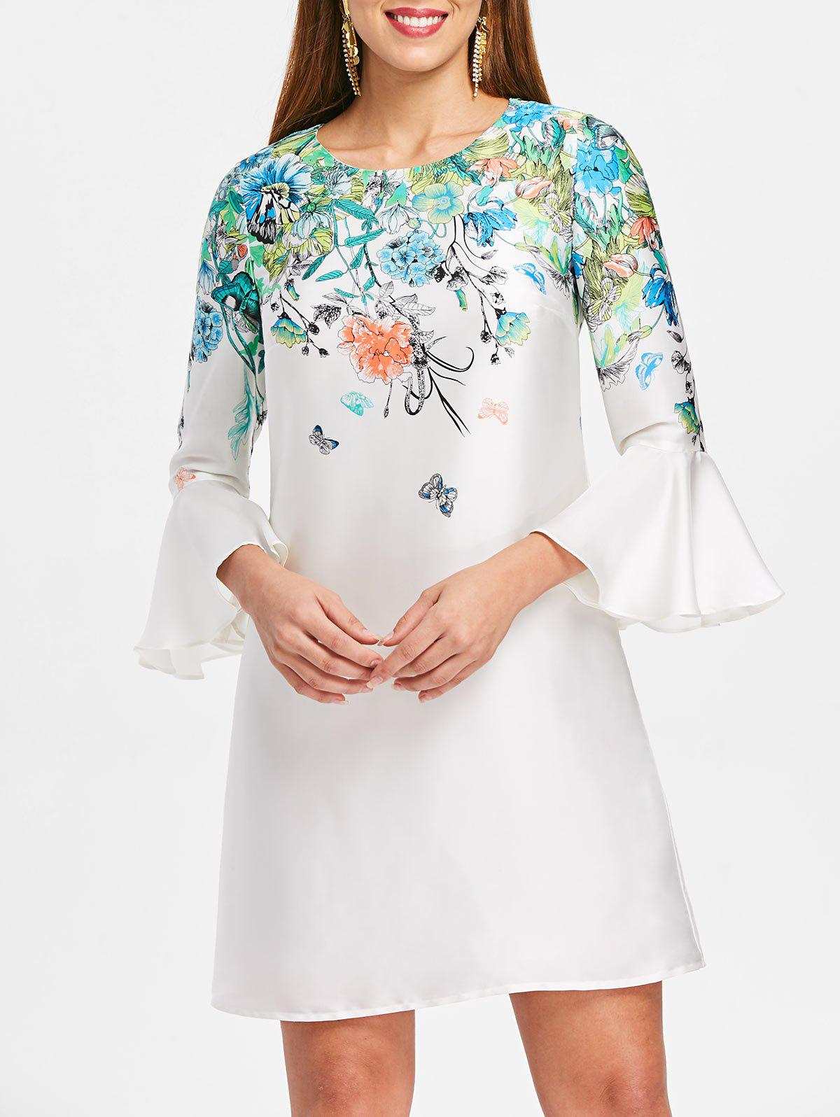 Flare Sleeve Floral Mini Shift Dress - WHITE XL