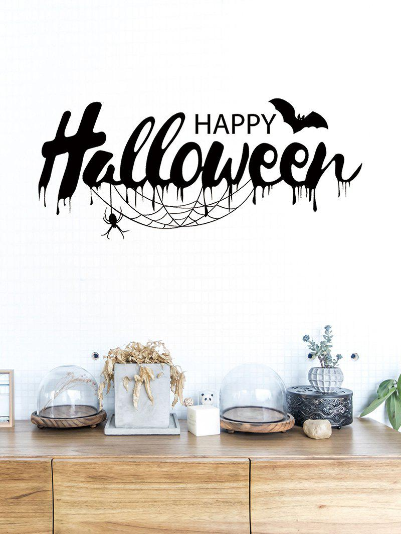Halloween Bat Printed Removable Wall Stickers - BLACK
