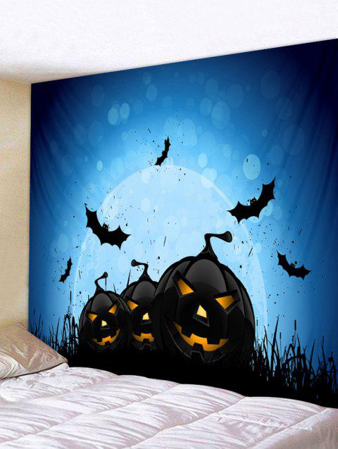 Halloween Pumpkins Bats Print Wall Decor Tapestry - multicolor W91 INCH * L71 INCH