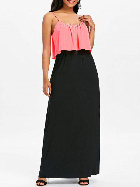Two Tone Maxi Popover Dress - PINK XL
