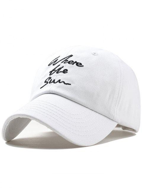 Statement Printed Letters Embroidery Sunscreen Hat - WHITE