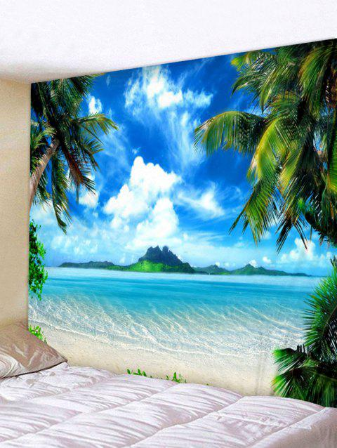 Tropical Beach Landscape Printed Wall Art Tapestry - WINDOWS BLUE W91 INCH * L71 INCH