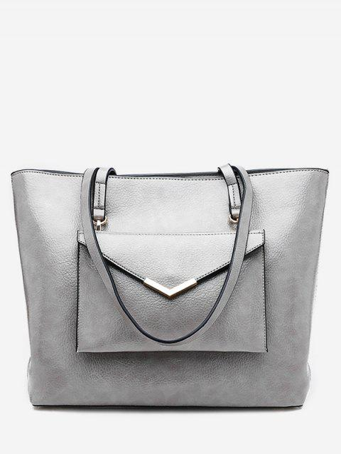 2 Pieces PU Leather Tote Bag Set - GRAY VERTICAL