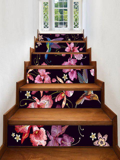 Vintage Hummingbird Flowers Stair Stickers - multicolor 6PCS:39*7 INCH( NO FRAME )