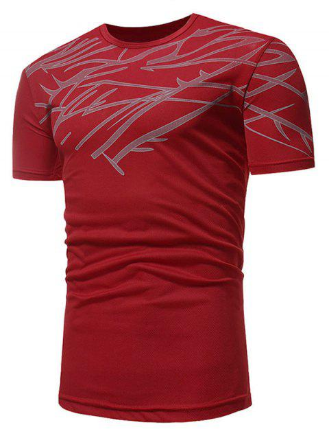 Slim Fit Irregular Figure Printed Gym Tee Shirt - CRANBERRY M