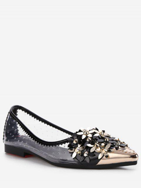 Flower Rhinestone Rivets Pointed Toe Flats - BLACK 36