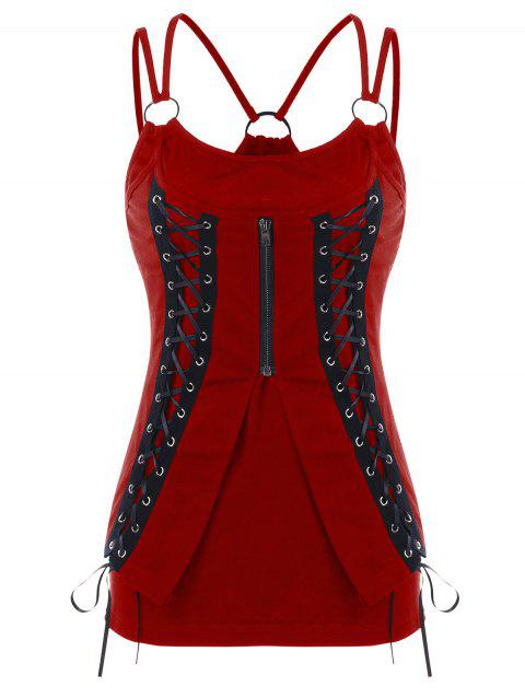 Lace Up Corset Tank Top - RED WINE L