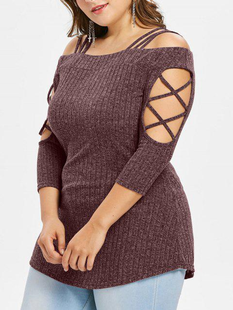 Plus Size Three Quarter Sleeve Ribbed Knit T-shirt - BLOOD RED 2X
