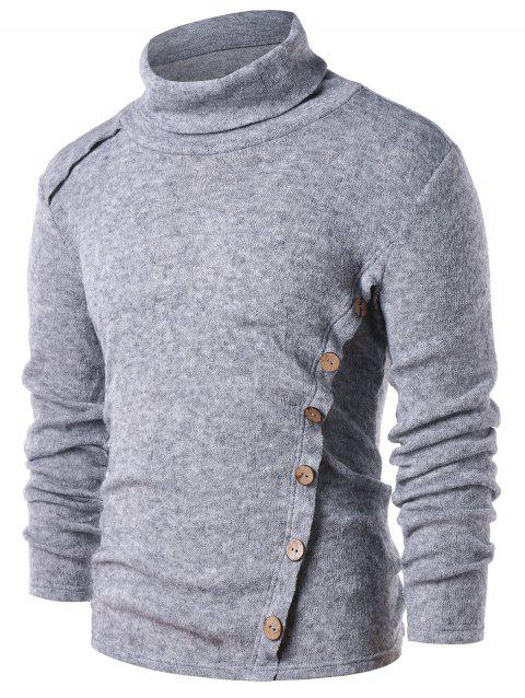 Casual Button Embellished Turtle Neck T-shirt - GRAY M