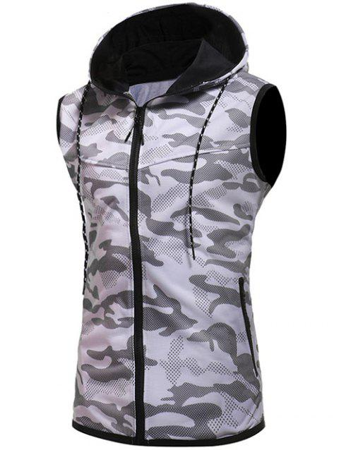 Camouflage Printed Hoodie Waistcoat - WHITE 2XL