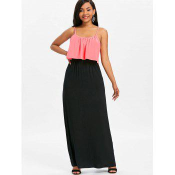 Two Tone Maxi Popover Dress - PINK 2XL
